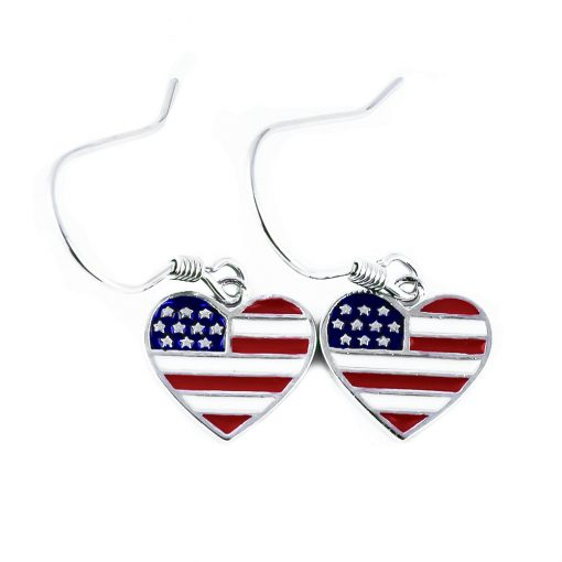 USA Flag Heart Dangle Earrings - Flags Jewellery