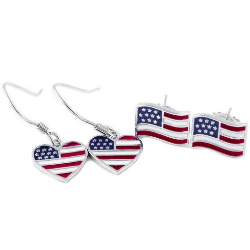 USA Flag Shape Earrings - Flags Jewellery