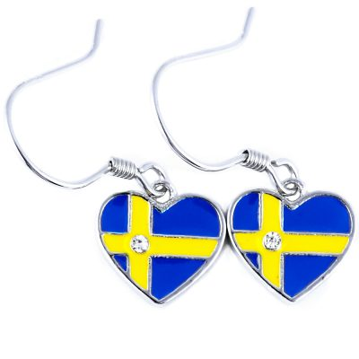 Sweden Flag Heart Dangle Earrings - Flags Jewellery