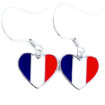 France Flag Heart Dangle Earrings - Flags Jewellery