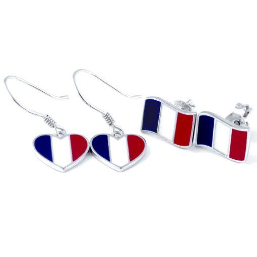 France Flag Heart Dangle Earrings - Flags Jewellery