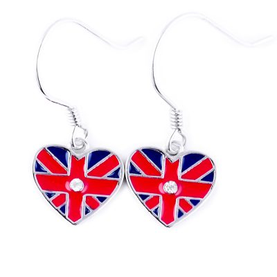 UK Flag Heart Dangle Earrings - Flags Jewellery