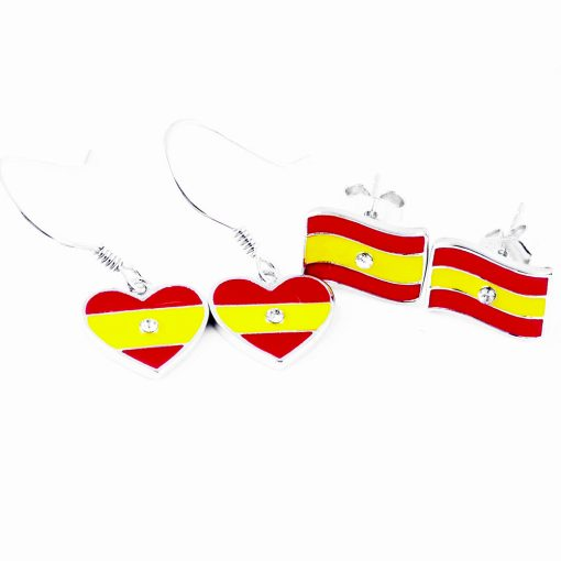 Spain Flag Heart Dangle Earrings - Flags Jewellery