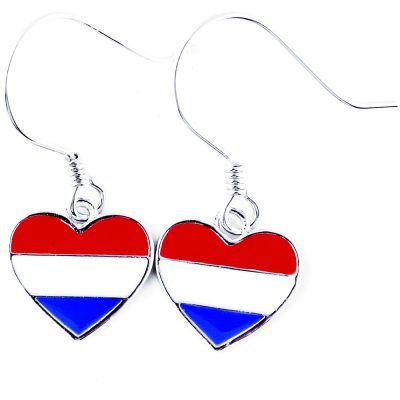 Netherlands Flag Heart Dangle Earrings - Flags Jewellery