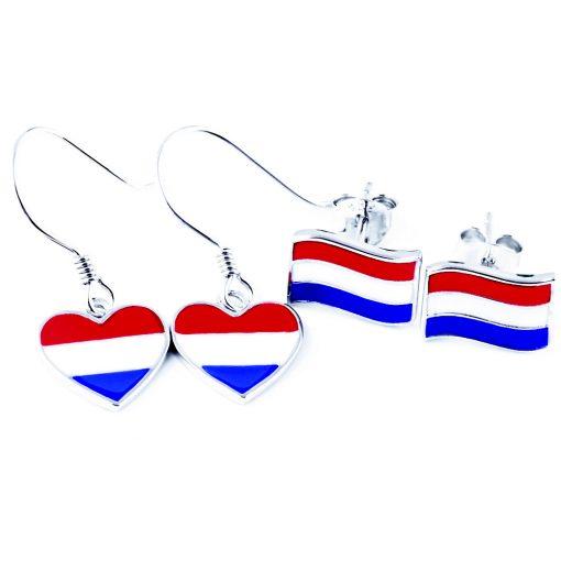 Netherlands Flag Heart Dangle Earrings - Flags Jewellery