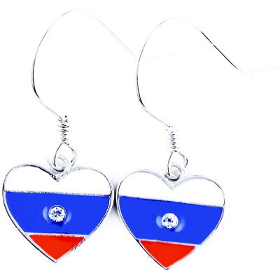 Russia Flag Heart Dangle Earrings - Flags Jewellery